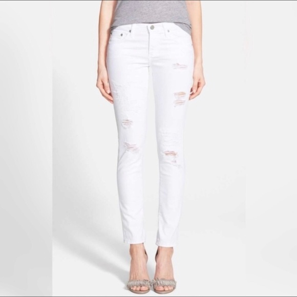Ag Adriano Goldschmied Denim - Adriano Goldschmied Stilt White Distressed Jeans